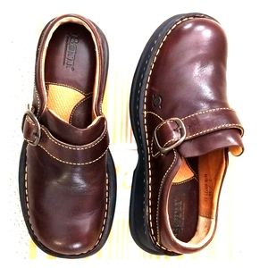 BORN SHOES Slip On * Clogs * Mules BROWN  LEATHER
